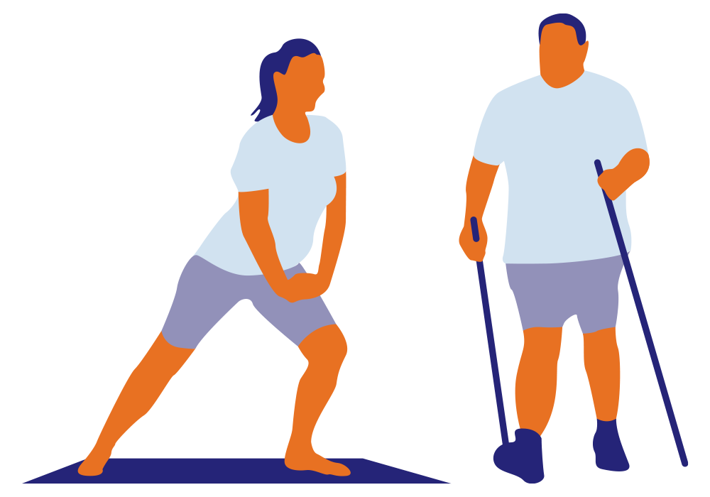 illustration yoga marche nordique